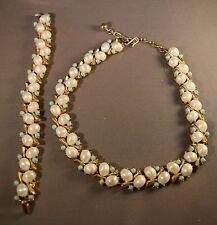 RARE Crown Trifari Sorento Faux Pearl & Turquoise Bead Necklace & Bracelet!