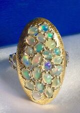 GP Fiery Well Opal Kanchanburi Blue Sapphire Platinum Gold On Silver Ring (O)
