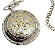 Pocket watch Two Tone Rampant Lion design quartz mechanism