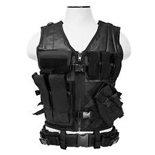 NcStar CTVL2916B PVC Military Tactical Vest Holster Heavy Duty Regular Black