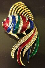 ANGEL FISH ENAMEL/GOLD TONE BROOCH 3 INCHES. RED/BLUE/GREEN ENAMEL /CRYSTALS