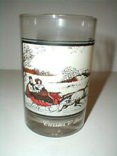 Arby's Currier Ives Christmas Sleigh Ride The Road in Winter GlassTumbler 1978