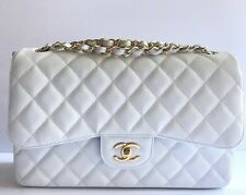NIB AUTHENTIC RARE! CHANEL JUMBO CAVIAR DOUBLE FLAP BAG WHITE WITH GOLD HARDWARE