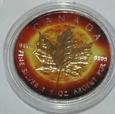 2014 1 Oz Silver Maple Leaf Coin .999 Gold Gilded Sun Theme