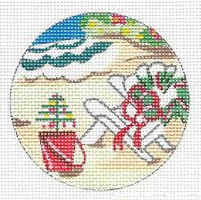 """Beachside Christmas Day HP Needlepoint Ornament by Kamala from Juliemar 3""""Rd."""