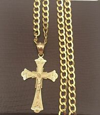 Religious 10k yellow Gold  Jesus Crucifix Cross Pendant Charm Cuban Chain