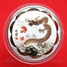 Exquisite Chinese Lunar Zodiac Dragon Colored Silver Plated Coin Token 45mm