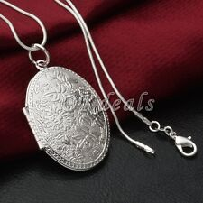925 sterling Silver Plated Box Locket Pendant Necklace Photo Love Snake Chain