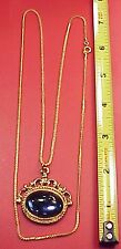 "Vintage Chain Deep Aqua Roman Soldier Pocket Watch Fob 26"" Chain Charm Pendant"