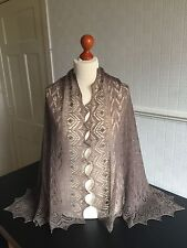 Beautiful lace 100%pure cashmere shawl / scarf / wrap, col: Taupe