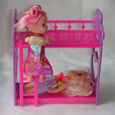 Plastic Bunk Bed for Barbie Kelly Dolls House Furniture Kids Girl Toys Gift