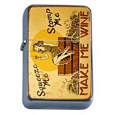 Vintage Poster D245 Flip Top Oil Lighter Wind Resistant Flame Make Me Wine