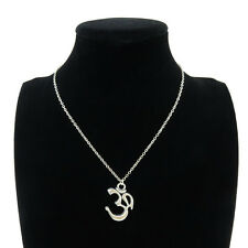 7-3 Silver Alloy Yoga Om Aum Symbol Pendant Short Chain Collar Necklace 18""