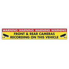 WARNING FRONT AND REAR CAMERAS RECORDING  magnetic sign 620mm x 100mm