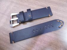 24x24mm Stitched Black cowboy Oil Calf Leather Strap pol marina Parnis militare