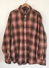 NWT Timberland Plaid Cotton Flannel Long Sleeve Shirt XL Bombay Orange