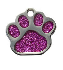 Paw shaped glitter  pet dog puppy  id tags (free deep hand engraving)