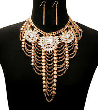 HOT! Statement Celebrity Gold Crystal Layered Bib Necklace Set By Rocks Boutique
