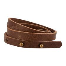 Dark Brown Triple Wrap Thin Slit Closure Leather Bracelet Unisex Unique Strap