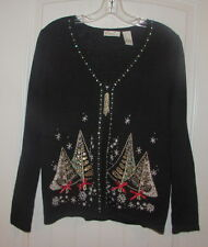 NEW KIM ROGERS Xmas Trees Full Zip Mult-Color Cardigan Sweater Reg Pr $58 Size S