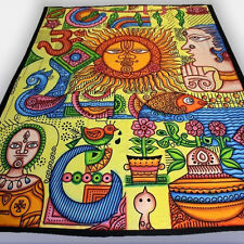 Tagesdecke- PSYCHEDELIC Wall Hanging Bedspread Goa trance hippie MULTICOLOUR