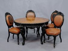 black forest rustic carved table with four chairs 1890