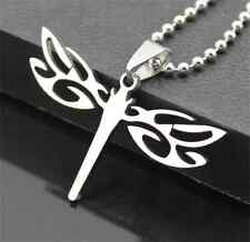 Dragonfly Womens Men's Silver 316L Stainless Steel Titanium Pendant Necklace A1