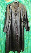 womans black long, leather coat 18 20 52 chest 52 long shiny