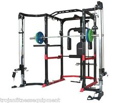 Power Rack Cage Lat Attachment Cable Cross Over FREE 7 Foot Olympic Barbell