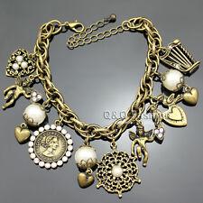Gold Fairytale 10 Charms Guardian Angel Harp Heart Coin Bangle Bracelet Gift W8