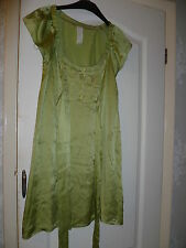 RIVER ISLAND PURE SILK TUNIC / DRESS WITH BELT TIE LIME GREEN SZ 8 NWOT