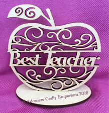 Best Teacher Apple Scroll Cutout Plaque Stand 15cm/150mm Mdf Craft Shape Wood