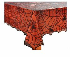 Halloween Spider Web Fabric Tablecloth Black Web with Orange Plastic Liner 52...