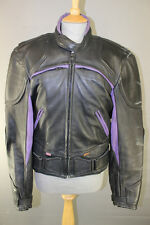 BRITISH MADE GEAR BLACK & PURPLE LEATHER BIKER JACKET WITH THERMAL LINING 42INCH