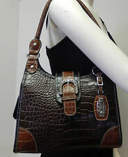 Rosetti Brown Faux Croc Embossed Organizer Hobo Shoulder Bag Handbag Purse