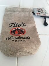Tito's Vodka Burlap Drawstring Bag from 750 ml bottle..NEW
