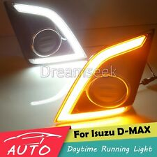 DRL LED DAYTIME RUNNING LIGHT FOG LAMP FOR ISUZU D-MAX 2016 2017 W/ TURN SIGNAL
