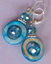 blue MOTHER OF PEARL Faceted Crystal drop earring SP LEVER BACK