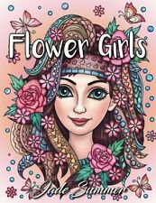 Coloring Book for Adults Girl Flower Floral Hair Inspire Relaxing Stress Relief