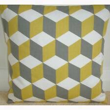 "NEW 18"" Cushion Cover Geometric Modern Retro Funky Saffron Yellow Grey 3D Cube"