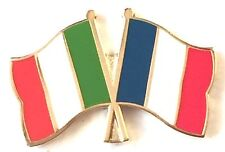 Italy & France Flags Friendship Courtesy Gold Plated Enamel Pin Badge