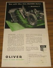 1947 Print Ad Oliver 70 Row Crop Tractor Pulls Baler Chicago,IL