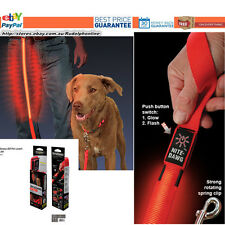 New Nite Ize Nite Dawg Pet Leash Red LED light Glow Flash Safely Visible