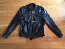 ALL SAINTS Mens Black Leather Cafe Racer Motorcycle Jacket Size Small $650