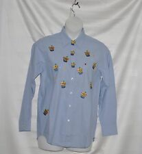 Quacker Factory Beach Pails Chambray Shirt w/Button Covers Size S Blue