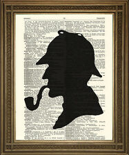 Sherlock Holmes print: détective silhouette, vintage dictionnaire art wall hanging