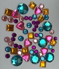 60 SELF ADHESIVE ACRYLIC GEMS/JEWELS/STONES-MIXED COLOUR/SHAPES-STICKERS JEWELS