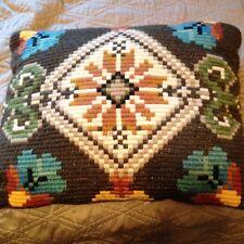 """Tapestry Pillow. Carpet Klim multicolor Cushion 12""""x16"""" Gold Velvet back.Lovely"""