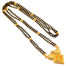 Mangalsutra One Two Gram Gold Plated Real Design Black Polki Jewelry Set 7330