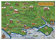 Map Postcard - Hampshire & Parts of Dorset - Somerset & Wiltshire   D167